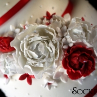 Wedding Cake in white & red