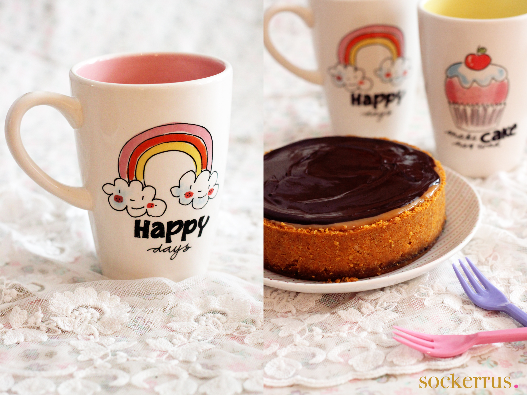 Chocolate Chili Cheesecake blonde mugs