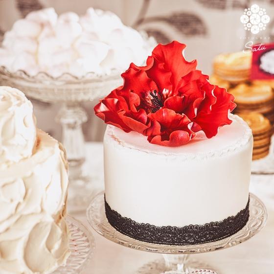chokladbollstårta chokladbollar tårta ombre cake with big red flower fotograf satu made by sockerrus