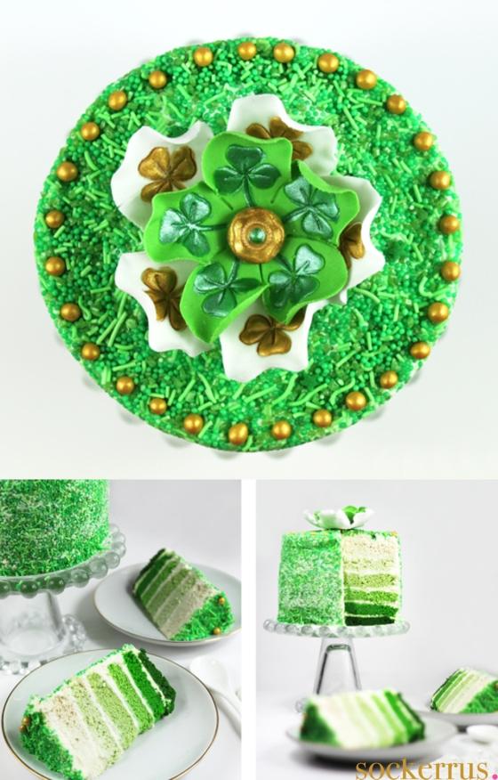 st patricks day cake ombre